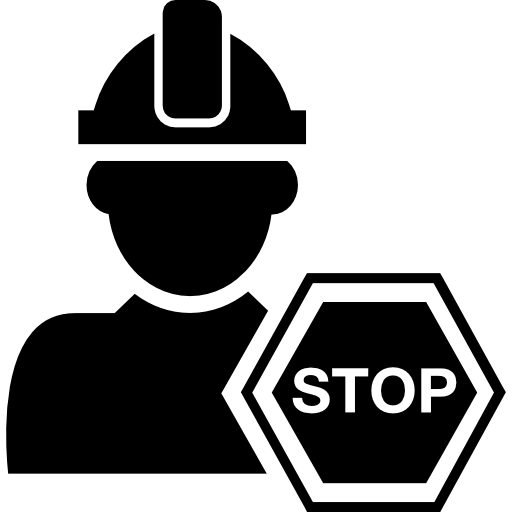 Constructor With Hard Hat And Stop Hexagonal Signal Icons Free