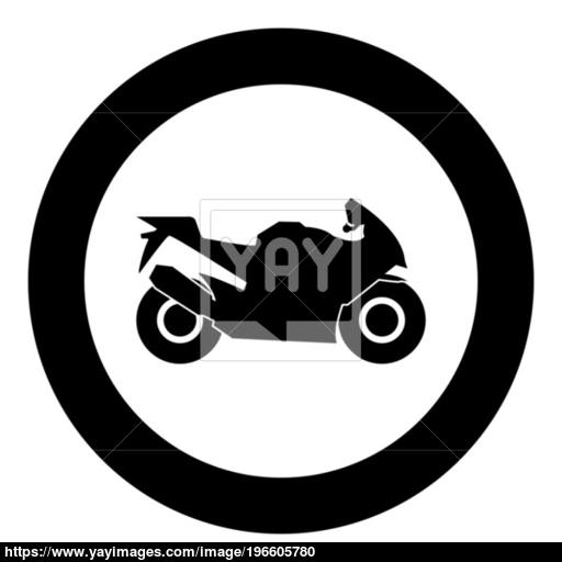 Motorcycle Black Icon In Circle Vector Illustration Isolated