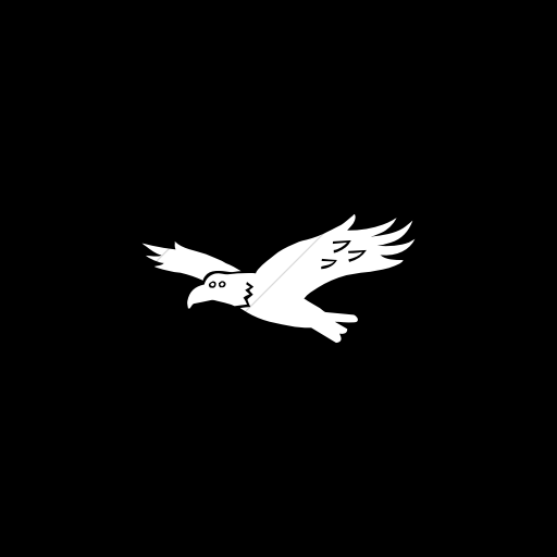 Flat Square White On Black Animals Hawk Icon