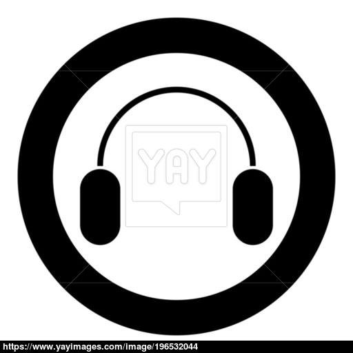 Headphone Icon Black Color In Circle Or Round Vector