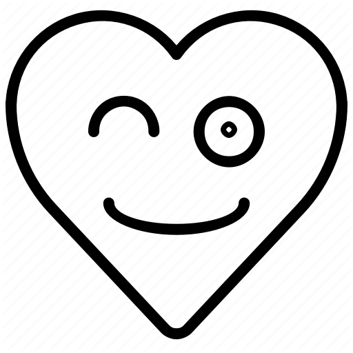 Emoji, Emotion, Happy, Heart, Smile, Wink Icon