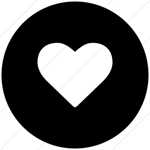 Flat Circle White On Black Bootstrap Font Awesome Heart