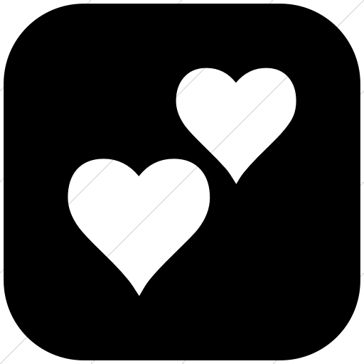 Flat Rounded Square White On Black Classica Two Hearts Icon