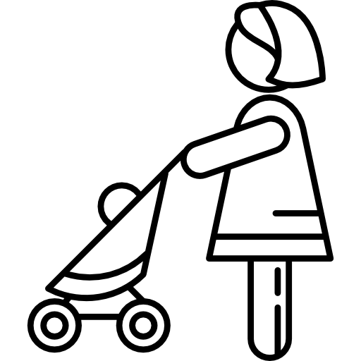 Woman With Baby Stroller Icons Free Download