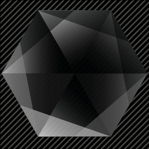 Base, Dark, Gem, Hexagon, Lunar, Noir, Zwart Icon