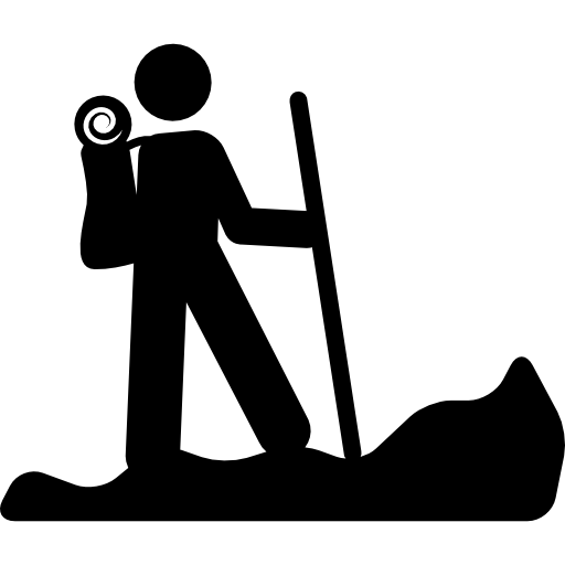 Hiking Person Silhouette With A Stick Icons Free Download