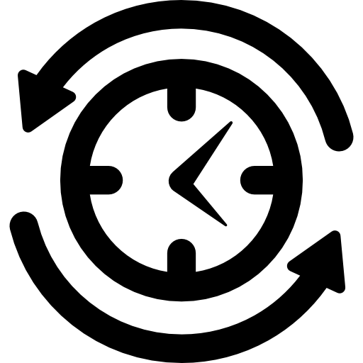 Job Search Symbol Of A Clock With Arrows Circle Around Icons