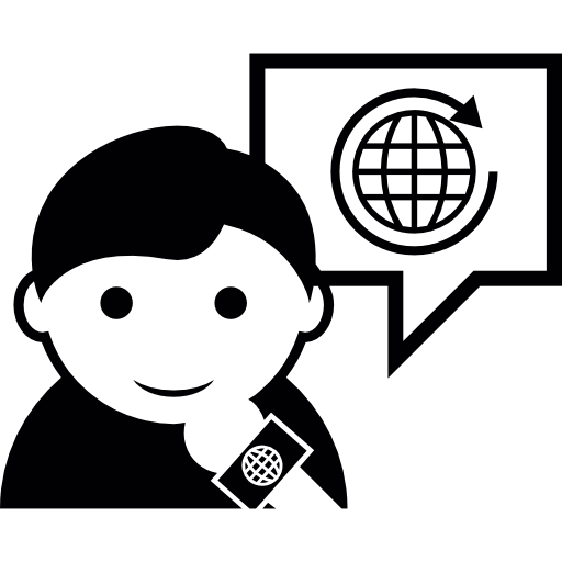 Man Talking About Traveling The World Icons Free Download