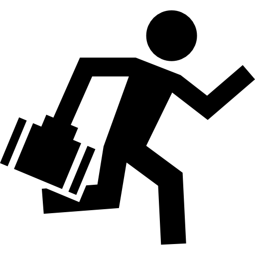 Worker Running With A Briefcase In One Hand Icons Free Download