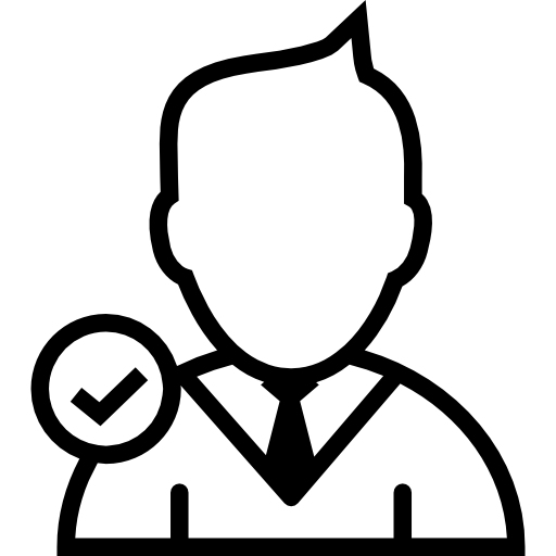 Young Businessman Close Up With Verification Mark Symbol As