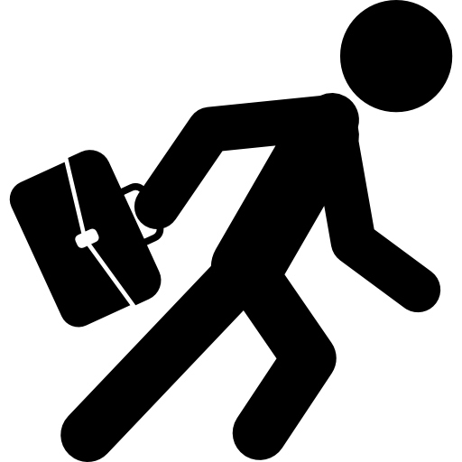 Businessman Running With His Suitcase Icons Free Download