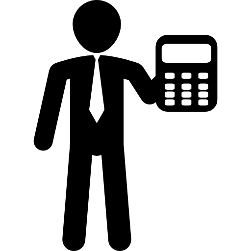 Businessman Showing Calculator Icons Free Download
