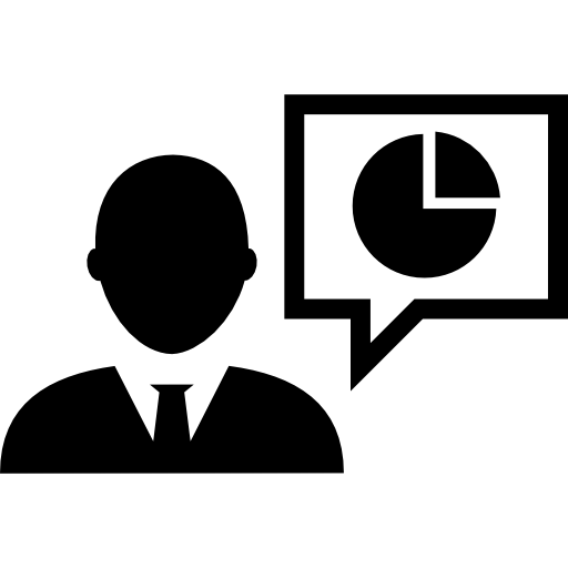 Businessman Talking About Stocks Percentage Icons Free Download