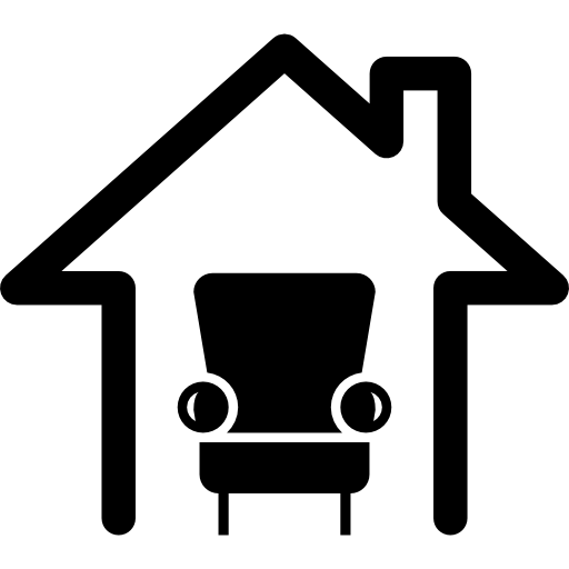Home Interior Symbol Of A Single Sofa In A House Outline