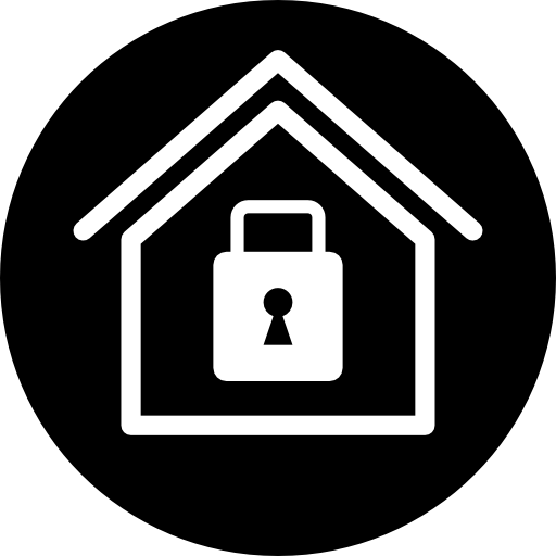 Home Security Symbol Of A House With A Locked Padlock Inside