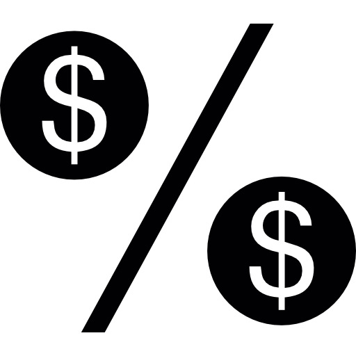 Percentage Symbol With Dollars Icons Free Download