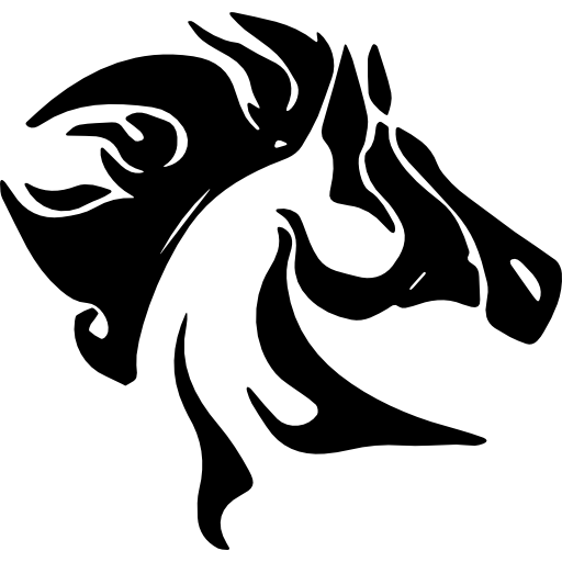 Horse Head With Messy Mane Side View Icons Free Download