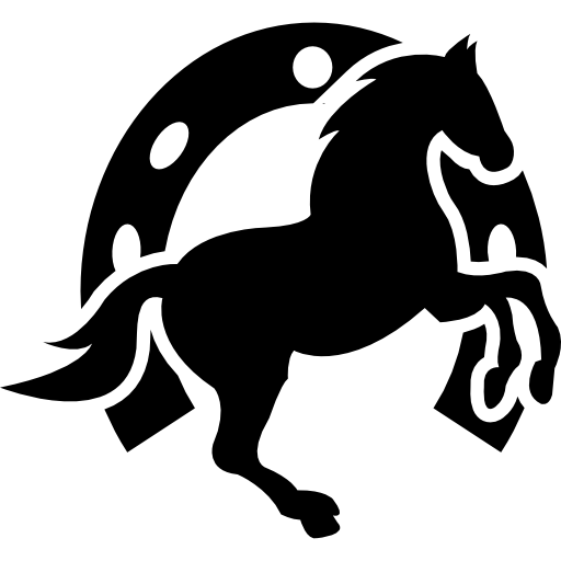 Dancing Horse And Horseshoe Background Icons Free Download