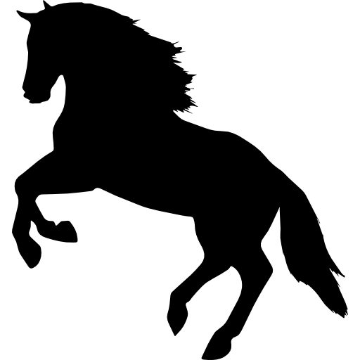 Jumping Horse Silhouette Facing Left Side View Icons Free Download