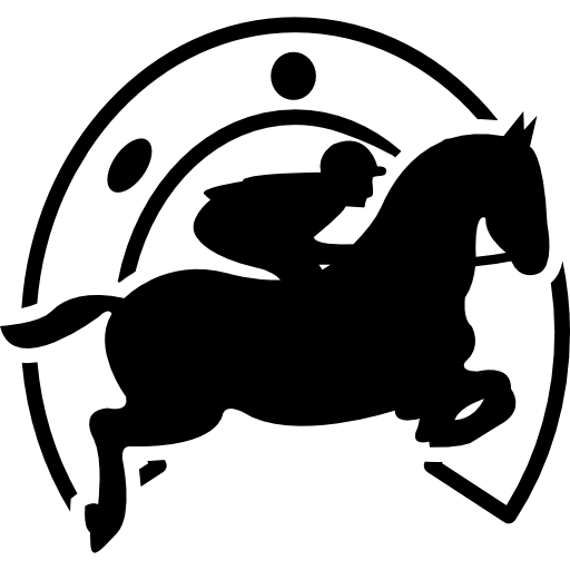 Jumping Horse With Jockey In Front Of A Horseshoe Icons Free
