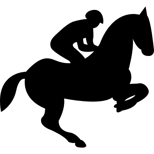 Jumping Horse With Jockey Silhouette Icons Free Download