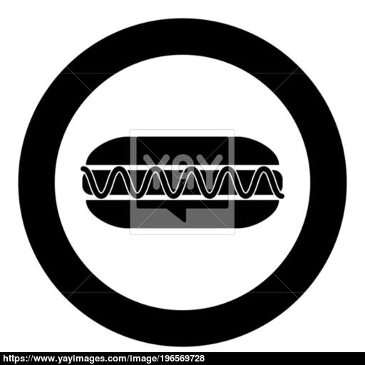 Hot Dog Icon Black Color In Circle Vector