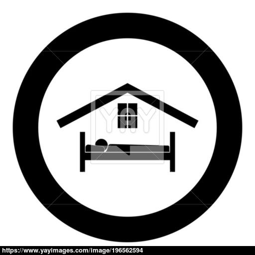 Man In Bed Hotel Icon Black Color In Circle Vector