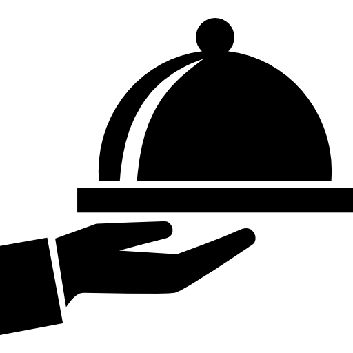 Covered Food Tray On A Hand Of Hotel Room Service Icons Free