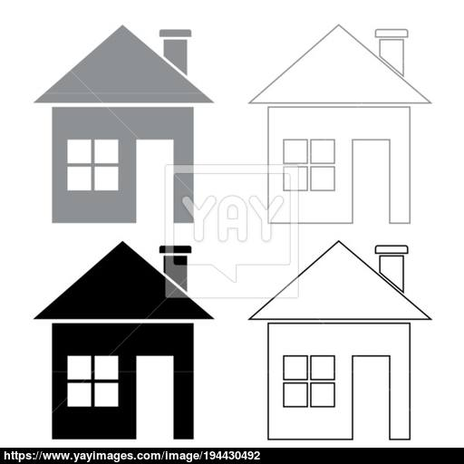 House Icon Illustration Grey And Black Color Vector