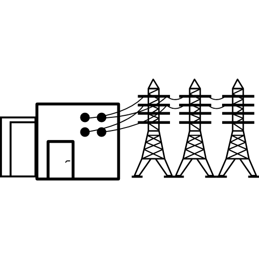 Power Housing With Power Lines Icons Free Download