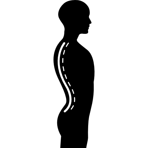 Column Inside A Male Human Body Silhouette In Side View Icons