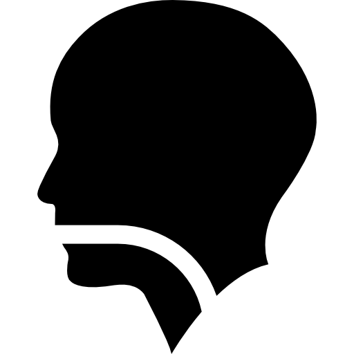 Human Head Silhouette With A Line In Mouth Pharynx And Larynx