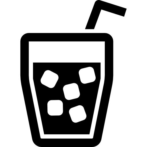 Drink Glass With Ice Cubes And Straw Icons Free Download