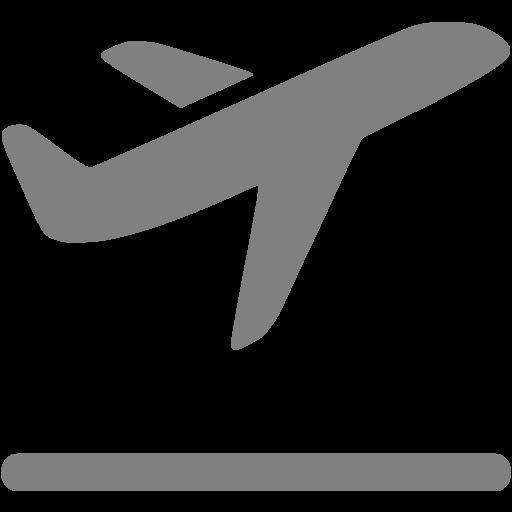 Gray Airplane Takeoff Icon