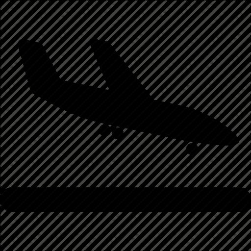 Airplane, Arrival, Flight, Landing Icon
