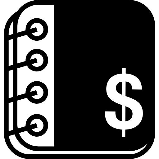 Accounting Notebook With Rings And Dollars Symbol Icons Free