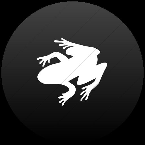 Flat Circle White On Black Gradient Animals Frog Icon