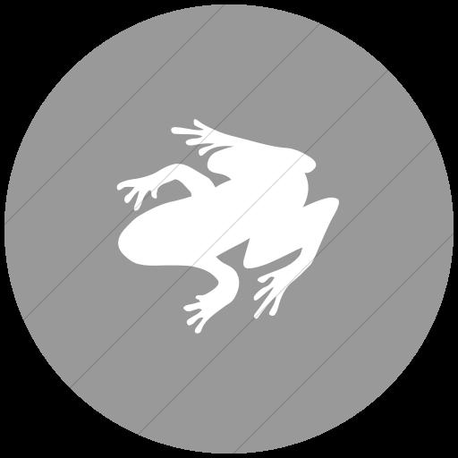 Flat Circle White On Light Gray Animals Frog Icon