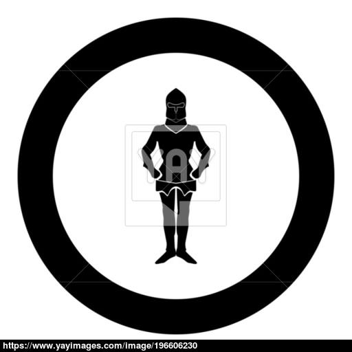 Armour Black Icon In Circle Vector Illustration Isolated Vector