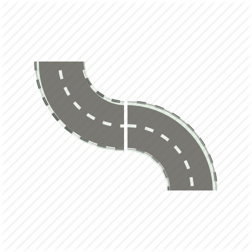 Asphalt, Cartoon, Curve, Highway, Road, Transportation, Way Icon