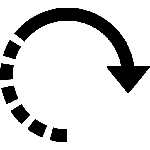 Circular Right Arrow With Half Broken Line Icons Free Download