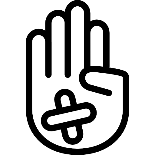 Hand Showing Palm Outline With Band Aid