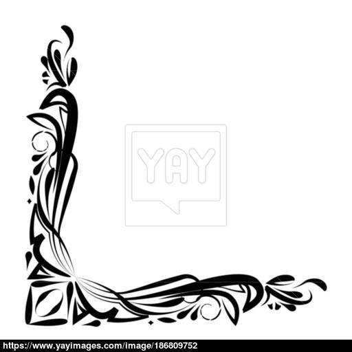 Flat Black Ornament Border Icon Vector