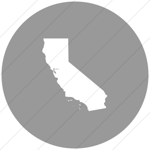 Flat Circle White On Light Gray Us States California Icon