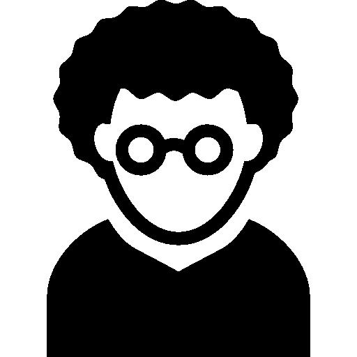 Nerd Man With Curly Hair And Circular Eyeglasses Avatar