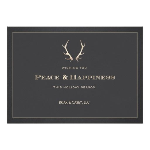Faux Gold Deer Antlers Corporate Holiday Card