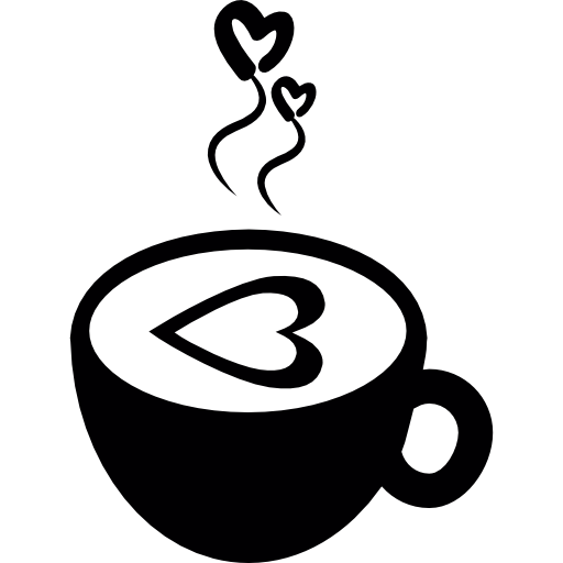 Hot Coffee Cup With Love Hearts Icons Free Download