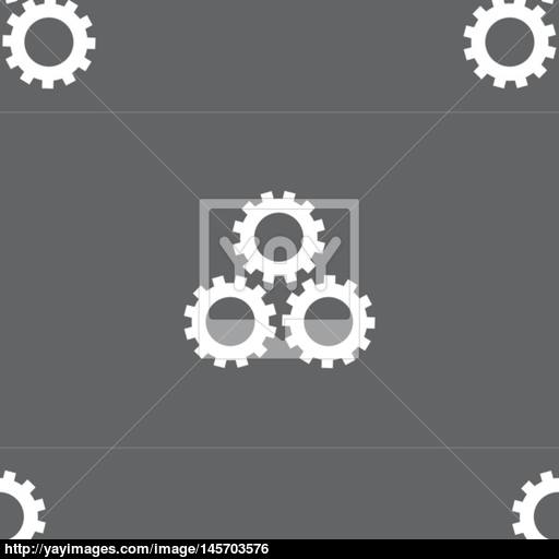 Cog Settings Sign Icon Cogwheel Gear Mechanism Symbol Seamless