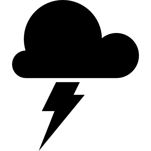 Storm Weather Symbol Of A Dark Cloud With A Lightning Bolt Icons