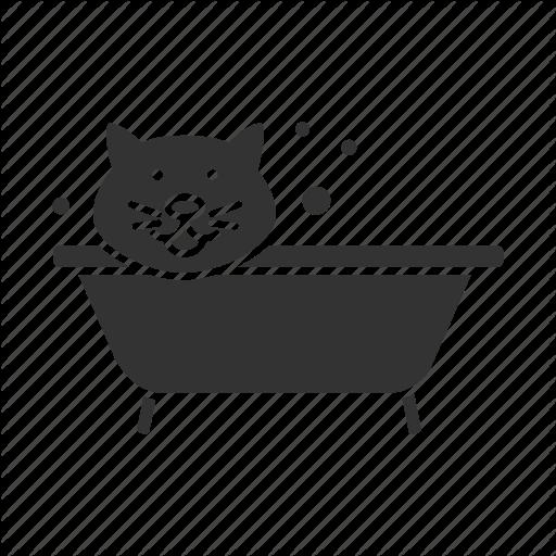 Bath, Bathing, Bathtub, Cat, Grooming, Pet, Wash Icon
